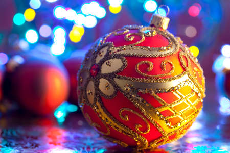 lighting background: Ornament Christmas bauble on lighting background