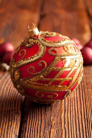goody: Christmas baubles on wooden background