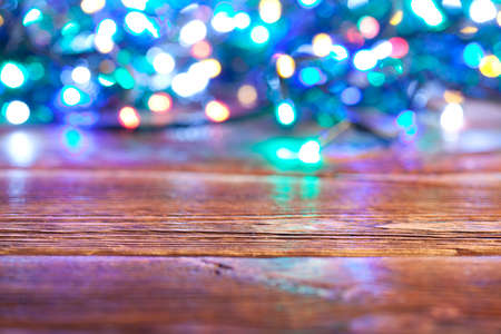 goodies: Christmas background - wooden wall and xmas lights