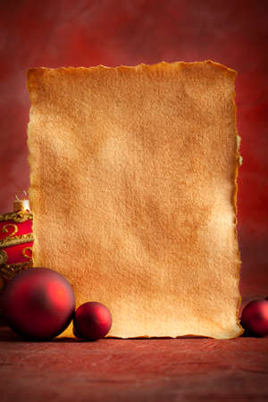 goody: Christmas background - blank paper sheet and baubles