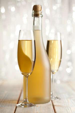 silver flute: Glasses of champagne Stock Photo