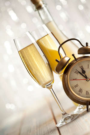 silver flute: New Years Eve - champagne and alarm clock