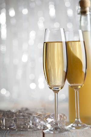 silver flute: Happy new year - two glasses and bottle of champagne Stock Photo