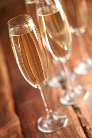 gold flute: New Years Eve - glasses of champagne Stock Photo