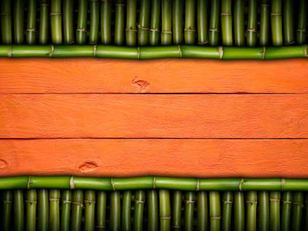 bamboo stick: Wooden planks on bamboo stick background