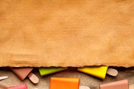 ice sheet: Handmade paper sheet and ice lollies Stock Photo