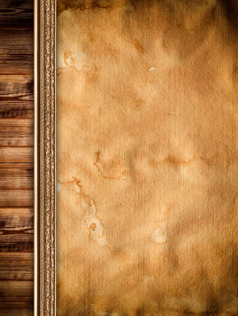 old paper background: Old stained paper sheet and wooden wall