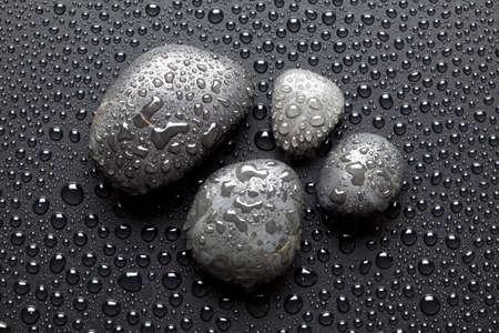 black stones: Basalt stones for massage Stock Photo