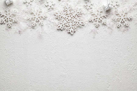 Christmas background - gifts and snowflakes on white background