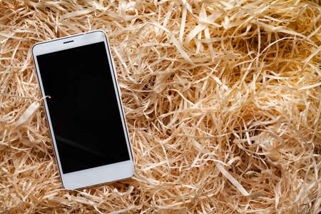 White modern smartphone in box full of wood shavings Stock Photo