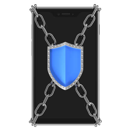 Smartphone, front of a mobile phone with a blank screen, chrome chain and protective shield - 3d illustration as a symbol of protecting the phone against unauthorized access or malware