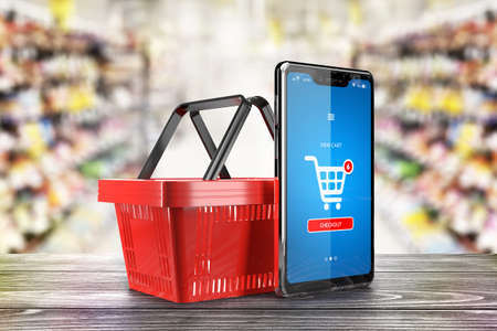 Cellphone with internet store application on screen and shopping basket. Grocery supermarket interior in background. Online buying and delivery concept - 3d illustration