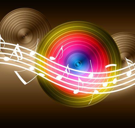 electro: Flie�ende Music-Notes auf Vinyl-Datensatz-Hintergrund