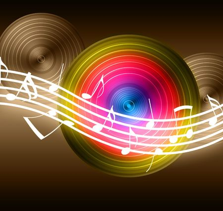 funk: Flowing Music Notes on Vinyl Record Background