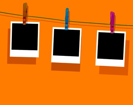 Blank Photos Hanging on Clothes Line Stock Photo - 6701793