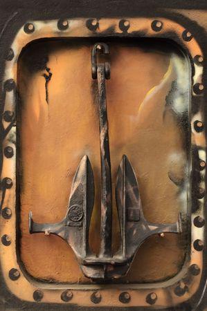 Iron Anchor on Decorative Wall photo