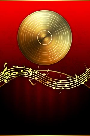 funk: Golden Disc and Music Notes Stock Photo