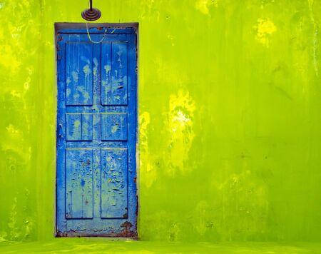porte bois: Porte bleue dans le mur v�g�tal minable Banque d'images
