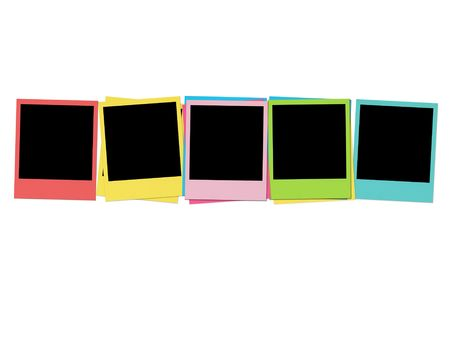 photography backdrop: Five Blank Photos in Birthday Colors Stock Photo