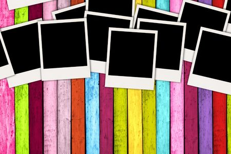 pic  picture: Pile of Blank Photos on Bright Background Stock Photo