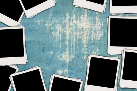 Blank Photos on Shabby Wall photo