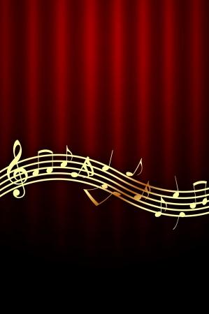 Golden Music Notes on Dark Red Background photo