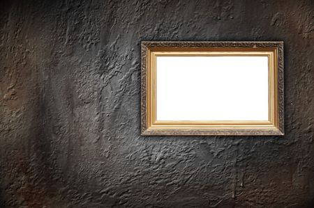 old picture: Vintage Frame on Dark Concrete Wall