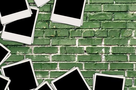 recollections: Blank Photos on Brick Background Stock Photo