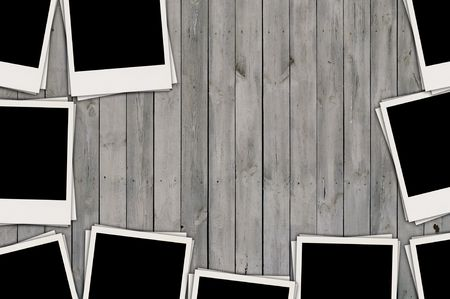 Blank Photos on Wood Background photo