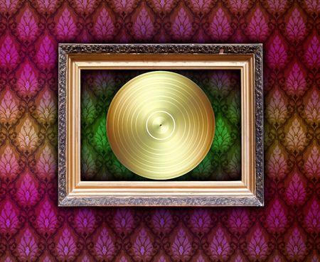 Vintage Frame with Golden Disc photo