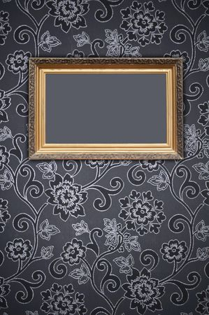 Blank Frame on Decorative Wallpaper photo