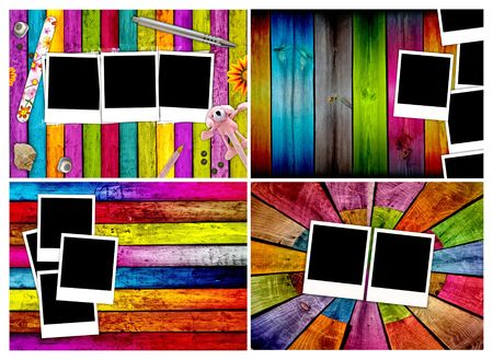 color photo: Set of Blank Photos on Wood Backgrounds Stock Photo