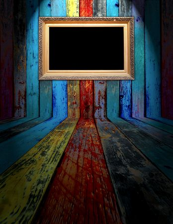recollections: Blank Frame in Dark Empty Room
