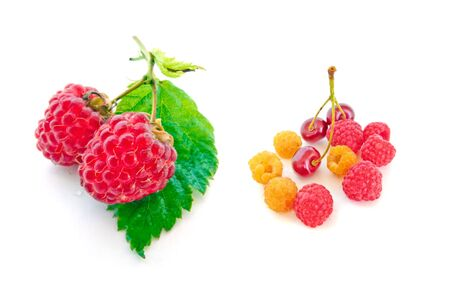 Fresh Red and Yellow Raspberries and Cherries Stock Photo - 6916892