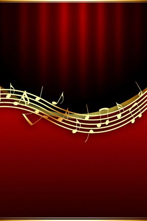 Golden Music Notes on Theatrical Background photo