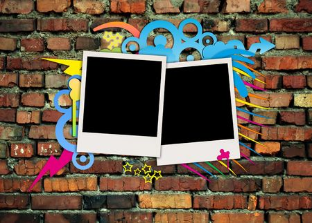 recollections: Photos on Graffiti Brick Background