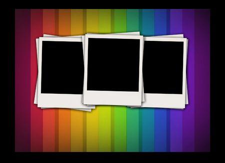 retrospect:  Blank Photos on Rainbow Background