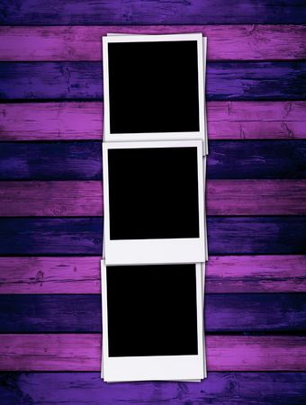 recollections: Blank Photos on Purple Background Stock Photo