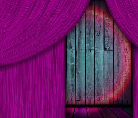 Wooden Stage Behind Red Curtain photo