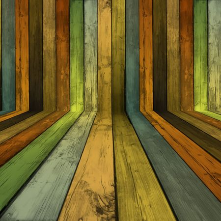 painted wood: Empty Wooden Room Stock Photo