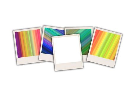 white polaroids: Five Colorful Photos  Stock Photo