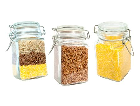Set of Cereals (Brown Rice, Buckwheat, And Corn Grits) photo