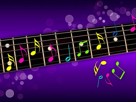 musical notation: Music Notes on Guitar Neck Stock Photo