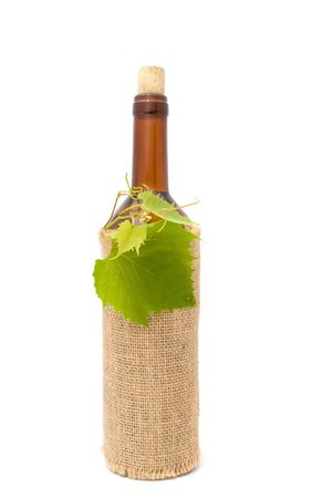 pinot grigio: Bottle of White Wine in Sackcloth