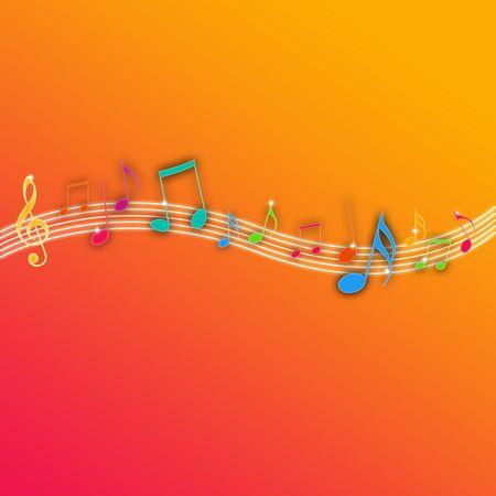Music Notes on Orange Background