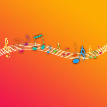 blues music: Music Notes on Orange Background