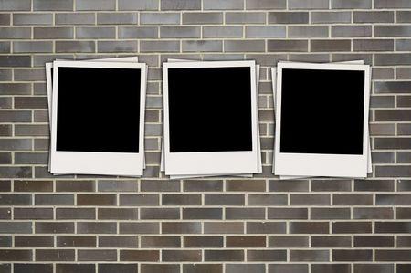 Three Photos on Brick Background photo