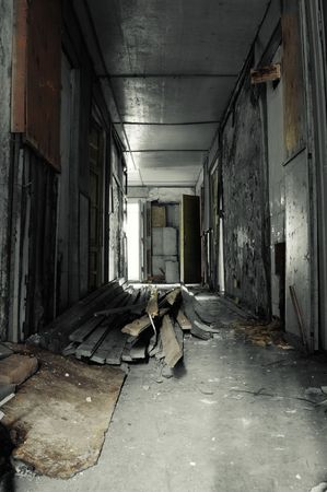 ruined: Corridor in Abandoned Building