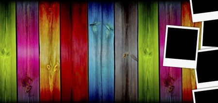 Blank Photos on Creative Wood Background photo