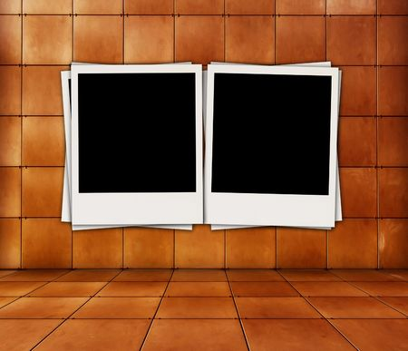 recollections: Two Blank Photos in Tiled Room Stock Photo